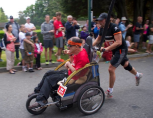 Jason and Rand competing in the Scotiabank Marathon in 2013