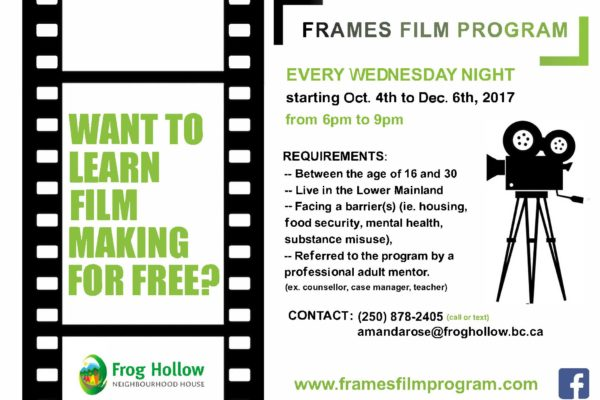 Calling all youths for The Frames Film Program Fall 2017
